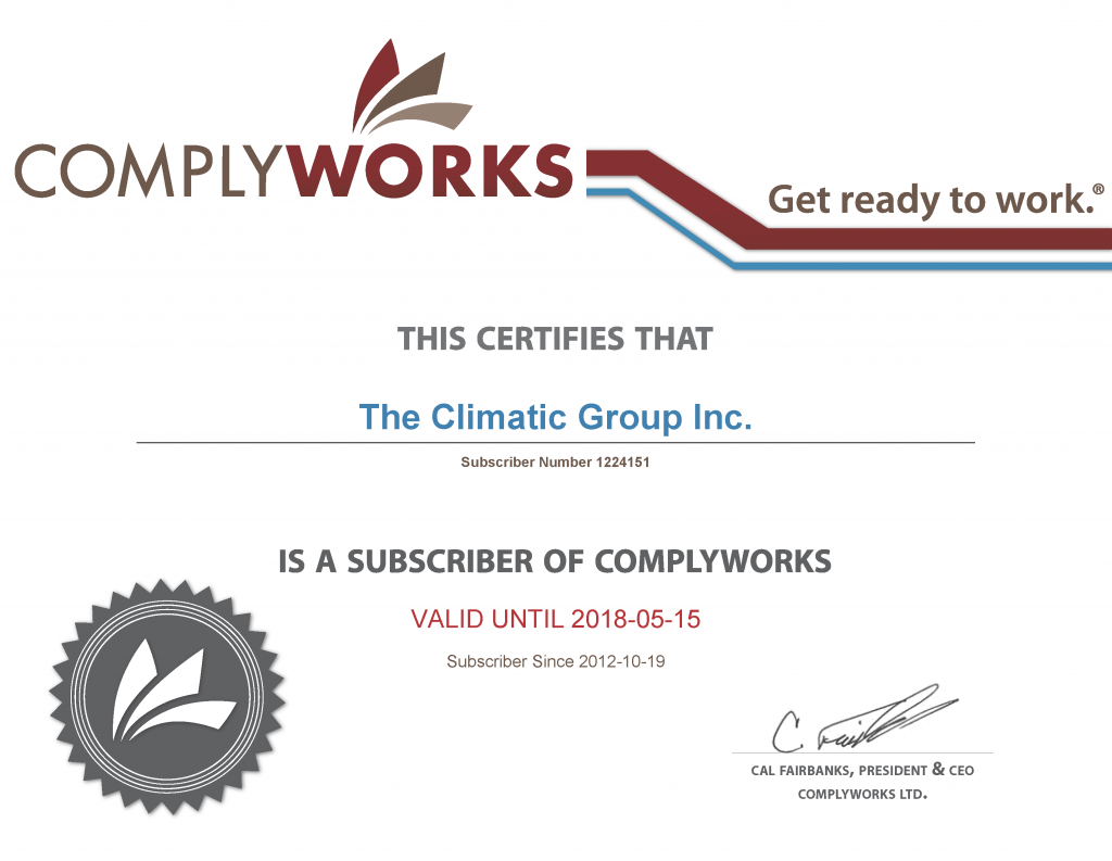 The Climatic Group Inc. members of Comply works